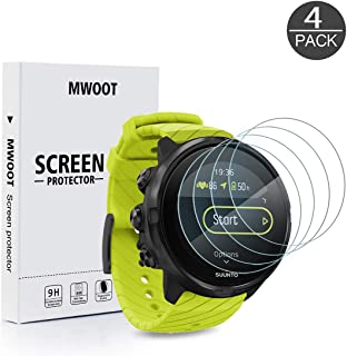 MWOOT Pack of 4 Screen Protector Glass Tempered Compatible with Suunto 9,  9H Hardness Scratch Resistant Protective Glass Cover for Smartwatch Screen Protection