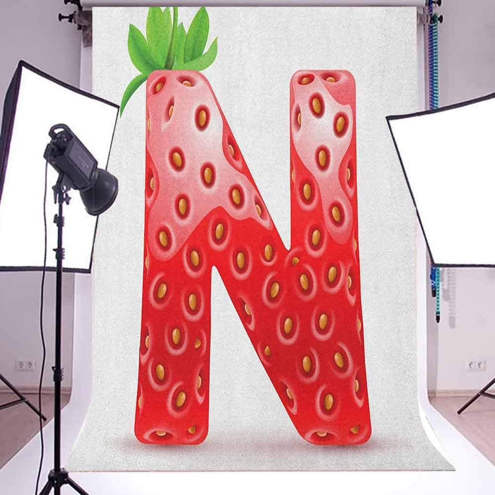 8x12 FT Letter N Vinyl Photography Background Backdrops,N Letter Capitalized in Red Berry with Various Green Leaves Seeds Background Newborn Baby Portrait Photo Studio Photobooth Props