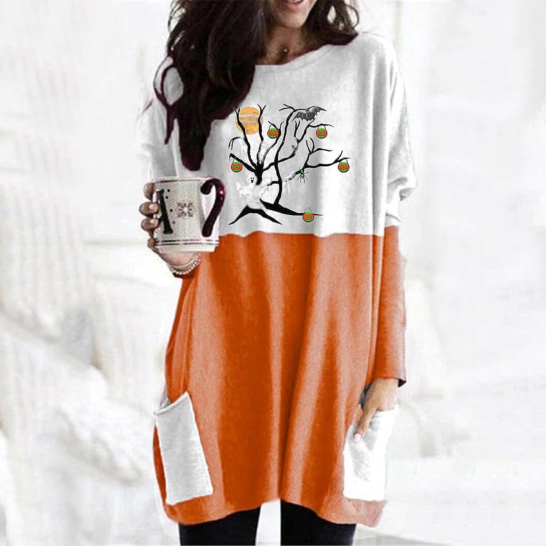 felwors Womens Halloween Sweatshirt, Womens Loose Long Sleeve Pumpkin Cat Print Tops with Pockets Oversized T Shirts