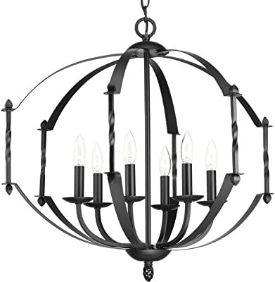 Progress Lighting P4711-31 Traditional Six Light Chandelier from Greyson Collection in Black Finish