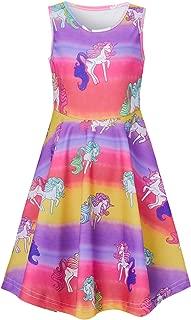 RAISEVERN Girls Sleeveless Dress Summer Space Mermaid Unicorn Dresses Holiday Party Sundress for Kids(4-13 Years)