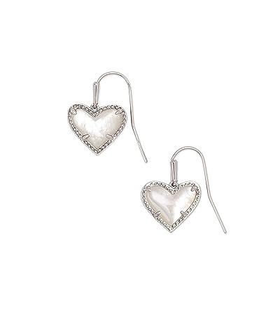 Kendra Scott Ari Heart Drop Earrings (Rhodium Ivory Mother-of-Pearl) Earring
