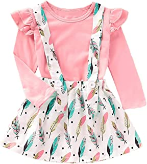 Cute Toddler Baby Girl Skirts Sets Long Sleeve Ruffle Shirt Suspender Feather Print Dress Outfit