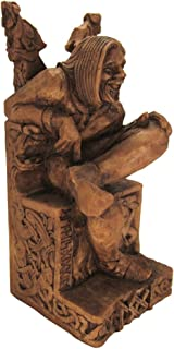 Dryad Design Seated Norse God Loki Statue Wood Finish