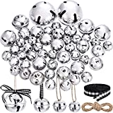 50 Pieces Jingle Bell with Star Cutouts Ornaments Metal Christmas Sleigh Bells Assorted Sizes for DIY Decoration Christmas Tree Wreath Garland Ornaments (Dark Red Bells) (Silver Bells)