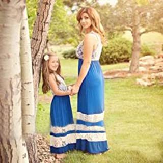 WensLTD Family Matching Clothes Mother and Daughter Lace Stripe Stitching Casual Dress
