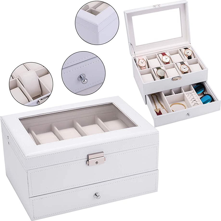 St.CHIU Watch Jewelry Box, 10 Slot Pu Leather Lockable Watches &Jewelry Collector Display Organizer Storage Holder Case with Lock and Glass Top for Men Women (White)
