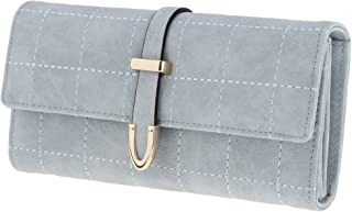 HOMYL Ladies PU Leather Clutch Tri-fold Clutch Frosted Plaid Wallet Cards Organizer for Paper Money Credit Cards - Blue, as described
