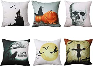 AngJi Halloween Decorations Throw Pillow Cover for Couch, Decorative Accent Cushion Sham Case for Bedroom Sofa, Soft Solid Cotton Set of 6-18 x 18, Pumpkin Witch Castle Skull Head Scarecrow Crow