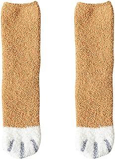 Tenflyer Calcetines de Invierno, Calcetines de Felpa de Felpa para Mujer Diseño de Garras de Gato de Dibujos Animados Calcetines Gruesos cálidos de otoño Invierno,Calcetines de Pata de Gato