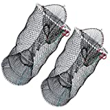 Drasry Crab Trap Bait Lobster Crawfish Shrimp Portable Folded Cast Net Collapsible Fishing Traps Nets Fishing Accessories Black 23.6in x 11.8in (60cm x 30cm) (2 PCS)