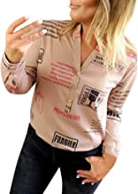 TIANMI Clearence Women Print Shirt,Sexy V Neck Tops with Button Brief Letter Print Long Sleeve T-Shirt Tops