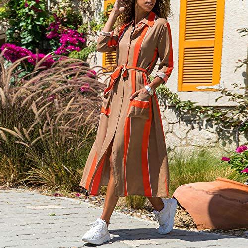 RKWEI Damen Kleider Frauen Gestreift Patchwork Kleid Turn Down Kragen Langarm Shirt Kleid Sommer Frühling Schärpen Taschen Mittellanges Sommerkleid-Khaki_S