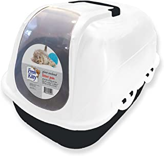 Fresh Kitty Easy to Clean Giant Enclosed Hooded Litter Box Pan for Your Pet Cat or Kitten, Navy Blue or Charcoal Gray
