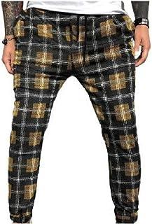 Zimaes Men's Pocket Plaid Stretch Drawstring Colorblock Trim-Fit Jogging Pants