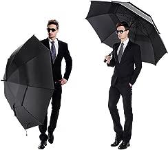 Fosaダブルキャノピー構造の頑丈な防風レインプルーフ自動オープン傘 旅行や通勤やアウトドイベントなどに対応  日差しと雨の日にも使用できる耐風傘 (ブラック)