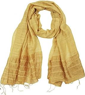 Rippled Effect Cruelty-Free Raw Silk Cotton Scarf Handmade Long Fair trade
