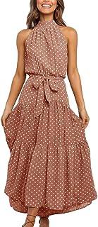 Womens Summer Polka Dot Halter Neck Long Dress Ruffle Boho High Waist Belted Tiered Swing Party Maxi Dresses