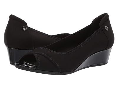 Anne Klein Sport Corner Wedge Heel (Black) Women