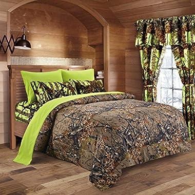 20 Lakes Camo Comforter, Sheet, Pillowcase Set (Full, Brown - Neon Green)