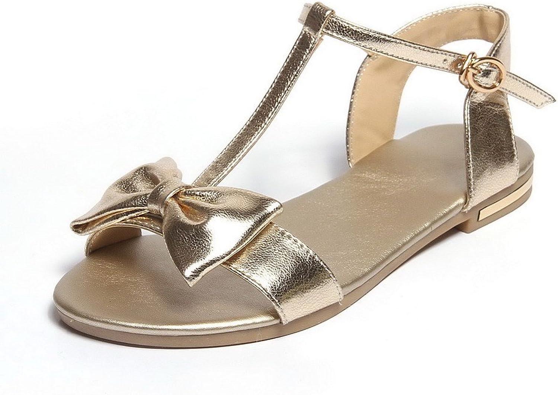 WeenFashion Women's Open Toe Buckle Cow Leather Solid No Heel Flats-Sandals