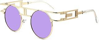 Leckirut Women Men Round Sunglasses Retro Vintage Steampunk Style Mirror Reflective Circle lens