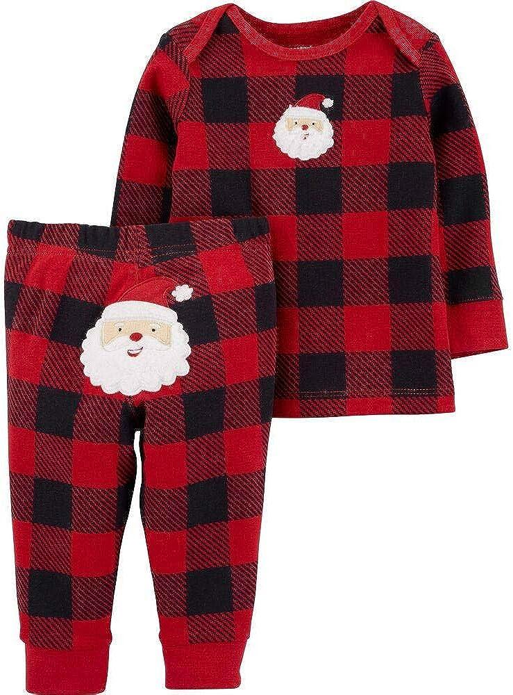 Carter's Baby Boys' 2-Piece Buffalo Check Top and Pant Santa Set