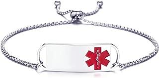Aooaz Medical Bracelet Chain Adjustable Chain Bracelet with Tag Medical Sign Bracelets Stainless Steel for Women