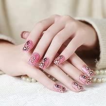 HeeJinn 3D Diamond False Nail, Square Head Fake Nails Rose Red Acrylic Fake Nails Press on Nails for Bride Artificial Fakes Nails with Sticker