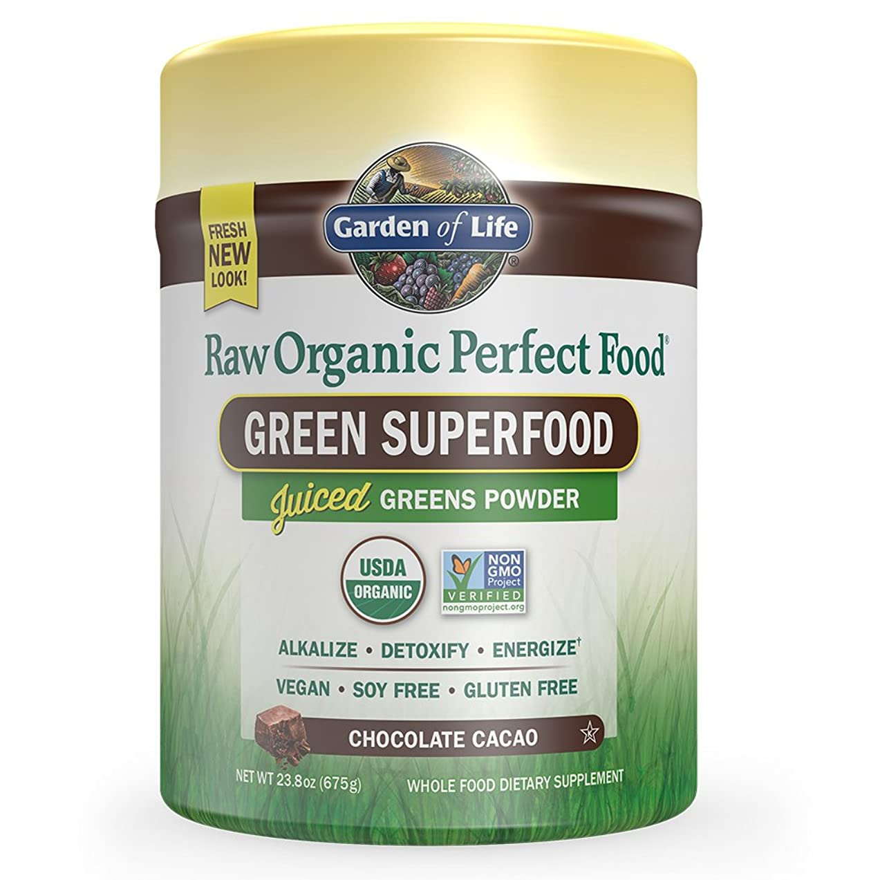 Garden of Life Raw Organic Perfect Food Green Superfood Juiced Greens Powder - Chocolate, 60 Servings - Non-GMO, Gluten Free, Vegan Whole Food Dietary Supplement, Plus Probiotics & Enzymes
