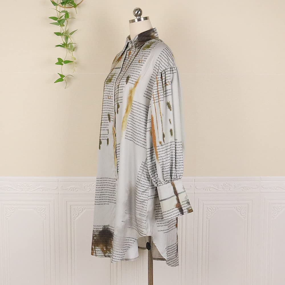 nuoshang Women's Printed Turn-Down Collar Puff Sleeve Casual Shirt Short Dress