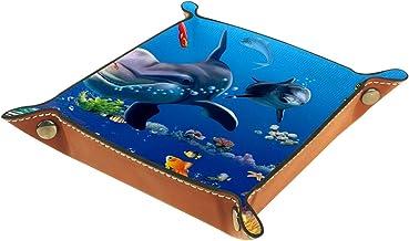 HOHOHAHA Taca na kostki, składana taca do toczenia ze skóry PU do gry w kości w domu przechowywanie łodzi podwodnej delfin...