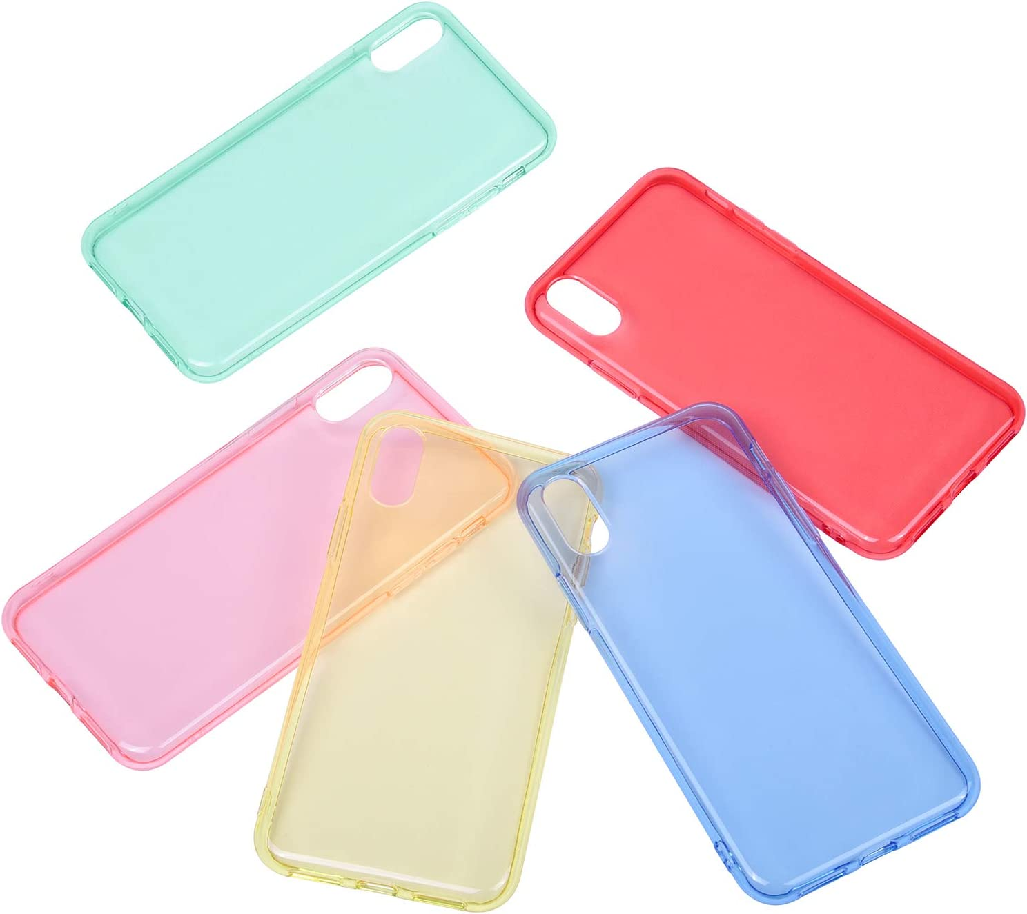 Wisdompro iPhone Xs Case, iPhone X Case, Bundle of 5 Pack Extra Thin Slim Jelly Soft TPU Gel Protective Case Cover for Apple iPhone X XS 10(Blue, Aqua Blue, Hot Pink, Yellow, Red)- Transparent Color