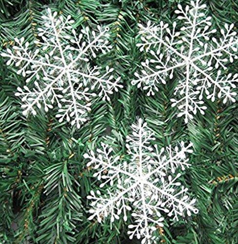Ndier 20 Packungen mit 60 Schneeflocken für Weihnachtsbaum, Anhänger, Ornamente cm Weiß Haus und Küche