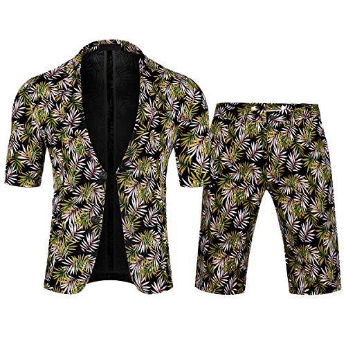 Heren Pak 2 Stuk Slim Fit Pak Korte Mouw Blazer Gedrukt Zomer Shorts Romper Twee Knop Pak Jas Shorts