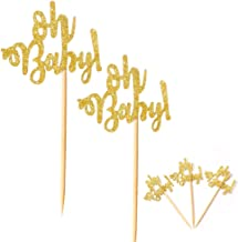 36 Pieces Oh Baby Gold Glitter Cupcake Toppers Picks for Baby Shower Wedding Birthday Party Decorations