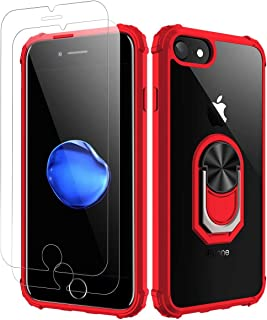 Amuoc iPhone 7| iPhone 8 Case, [ Military Grade ] with [ Glass Screen Protector] 15ft. Drop Tested Protective Case | Kickstand | Compatible with Apple iPhone 8/ iPhone 7 -Red, Red-8/7/6