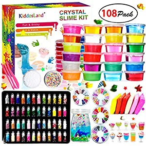 DIY Crystal Slime Kit – Slime kits for Girls Boys Toys with 48 Glitter Powder,Clear Slime Supplies for Kids Art Craft… 9