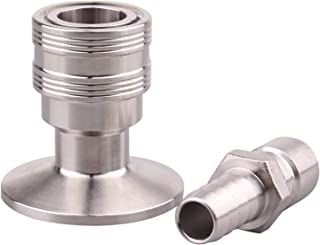 DERNORD Stainless Steel Quick Disconnect Set -Beer Brewing Tri Clover Connector Kit (Barb male/tri clamp female)