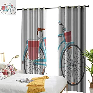 Superlucky Bicycle,Decor Curtains by,Classic Touring Bike with Derailleur and Saddlebags Healthy Active Lifestyle Travel,W96 xL84,Suitable for Bedroom Living Room Study, etc.