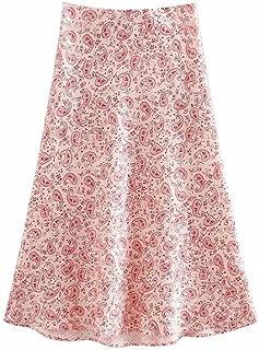 Wusssonggacq تنانير طويلة للنساء، التنانير، المدونة الأزياء طباعة كاجو عتيق تنورة متوسطة الطول من الساتان للنساء (الحجم: S)