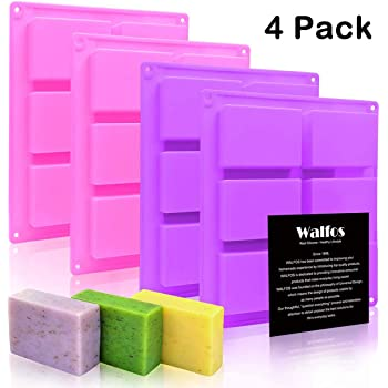 Silicone Soap Molds Set of 4, 6 Cavities Rectangle Silicone Soap Molds for Homemade Craft Soap Mold, Cake Mold, Chocolate Mold & Ice Cube Tray(Purple & Pink)