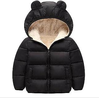 Kids Winter Down Coat for Toddler Boys Girls Bear Ears Padded Baby Jacket Children's Lamb Velvet Cotton-padded Outerwear