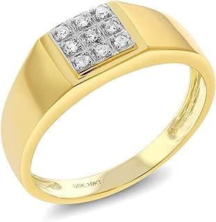 Gem Stone King Men's Solid 10k Yellow Gold Natural White Diamond Wedding Anniversary Ring