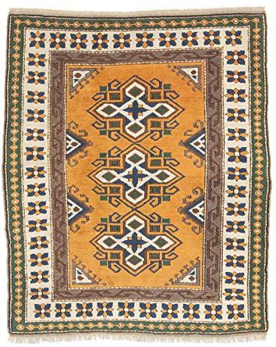 CarpetFine: Kars Teppich 127x153 Beige,Orange - Handgeknüpft - Geometrisch