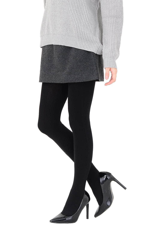 極暖 320デニール あったか裏毛布タイツ マチ付き 厚手 温活 黒