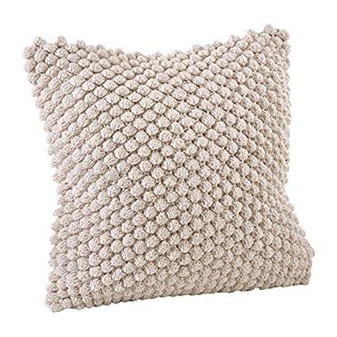 Saro LifeStyle 3519.I20S  Crochet Pompom Down Filled Pillow, Ivory, 20