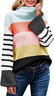 SAUKOLE Women's Turtleneck Sweater Color Block Casual Long Sleeve Loose Chunky Knit Pullover Tops
