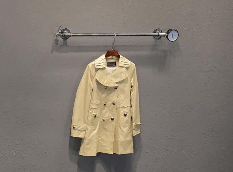 Vintage loft Iron Hose Coat Rack, Living Room Bedroom Wall Hangers, Wall Hangers Display Rack (color   A, Size   60  10cm)