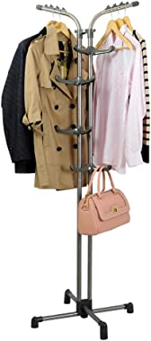 BAOYOUNI Heavy Duty Metal Coat Rack Standing Entryway Hall Tree Hat Purse Jacket Hanger, Adjustable Height Hooks Grey